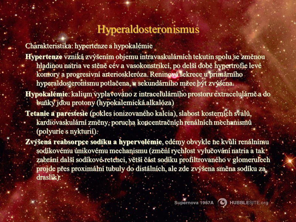 Hyperaldosteronismus Charakteristika: hypertenze a hypokalémie Hypertenze vzniká zvýšením objemu intravaskulárních tekutin spolu se změnou hladinou na