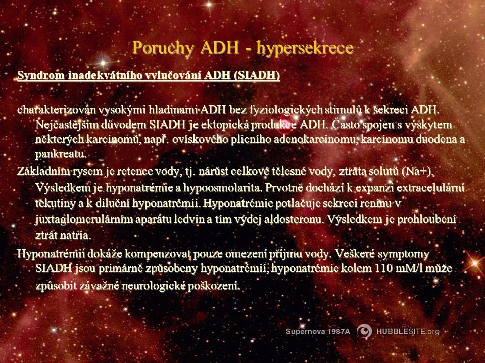Poruchy ADH - hypersekrece Syndrom inadekvátního vylučování ADH (SIADH) charakterizován vysokými hladinami ADH bez fyziologických stimulů k sekreci AD