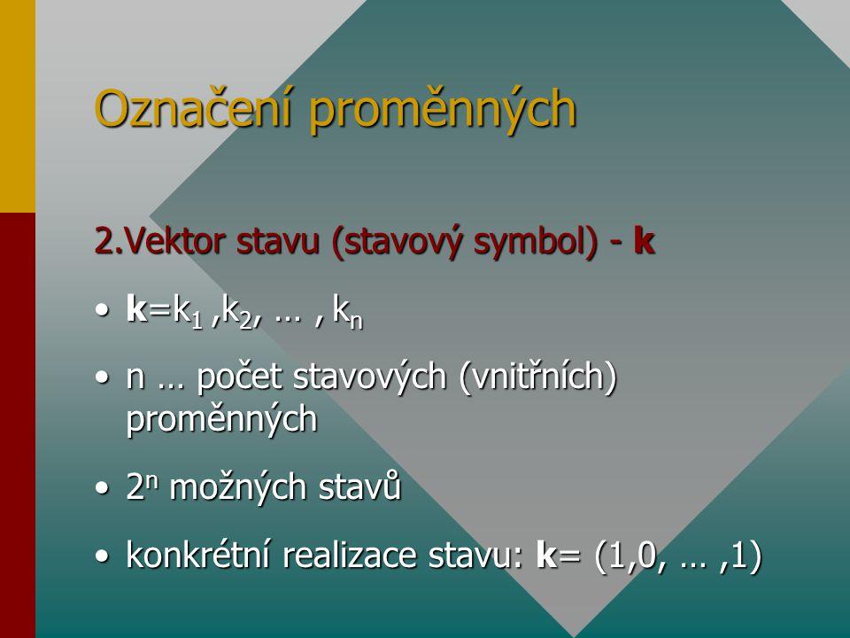 Označení proměnných 2.Vektor stavu (stavový symbol) - k k=k 1,k 2, …, k nk=k 1,k 2, …, k n n … počet stavových (vnitřních) proměnnýchn … počet stavový
