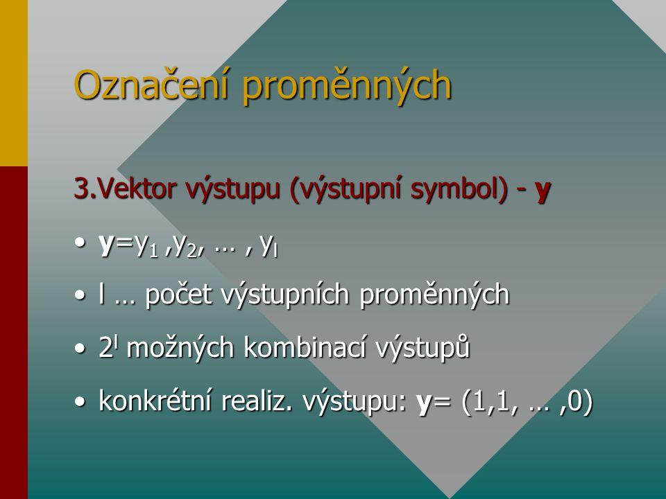 Označení proměnných 3.Vektor výstupu (výstupní symbol) - y y=y 1,y 2, …, y ly=y 1,y 2, …, y l l … počet výstupních proměnnýchl … počet výstupních prom