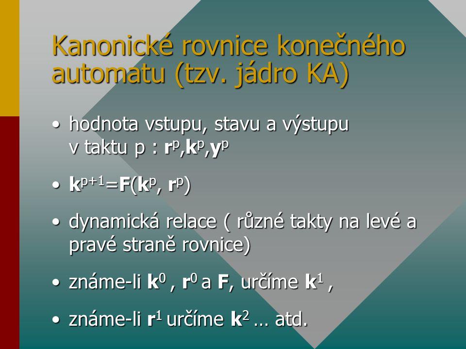 Kanonické rovnice konečného automatu (tzv. jádro KA) hodnota vstupu, stavu a výstupu v taktu p : r p,k p,y phodnota vstupu, stavu a výstupu v taktu p