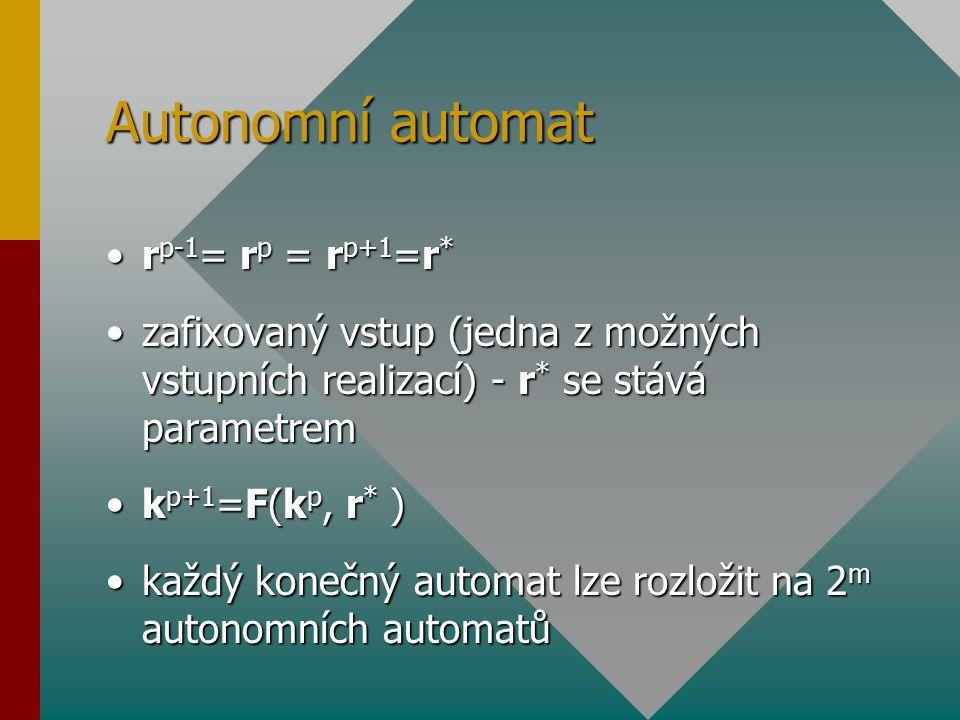Autonomní automat r p-1 = r p = r p+1 =r *r p-1 = r p = r p+1 =r * zafixovaný vstup (jedna z možných vstupních realizací) - r * se stává parametremzaf