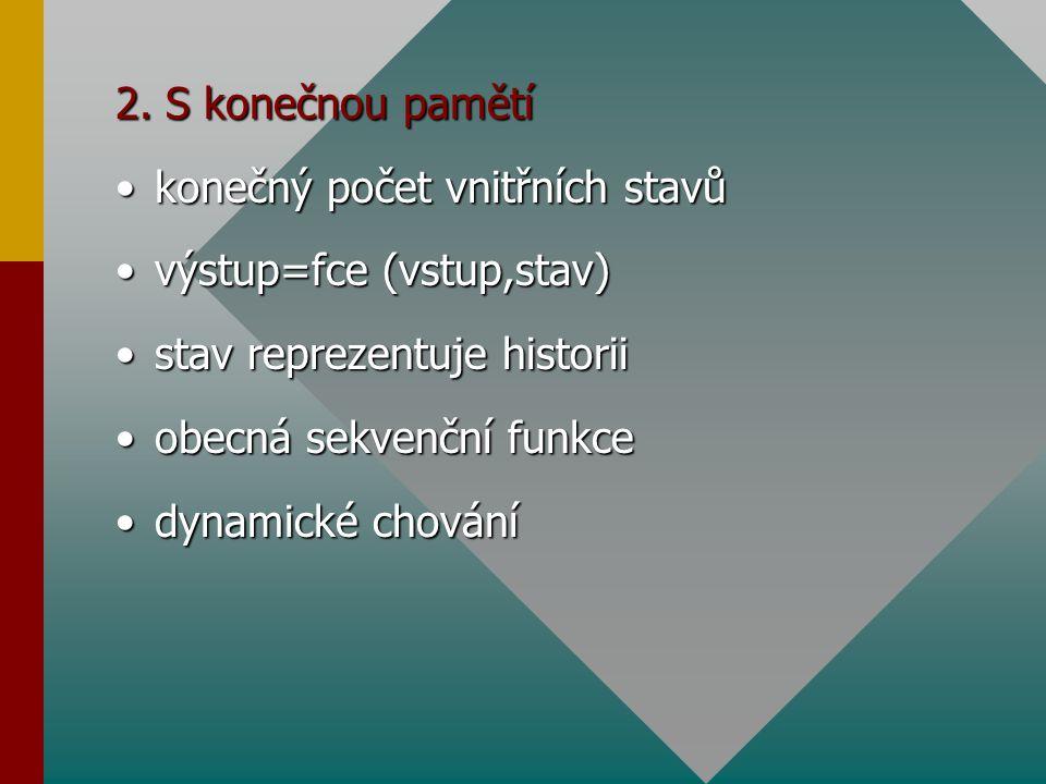 2. S konečnou pamětí konečný počet vnitřních stavůkonečný počet vnitřních stavů výstup=fce (vstup,stav)výstup=fce (vstup,stav) stav reprezentuje histo