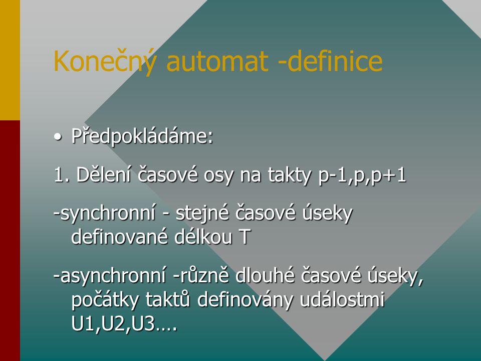 Konečný automat -definice Předpokládáme:Předpokládáme: 1. Dělení časové osy na takty p-1,p,p+1 -synchronní - stejné časové úseky definované délkou T -