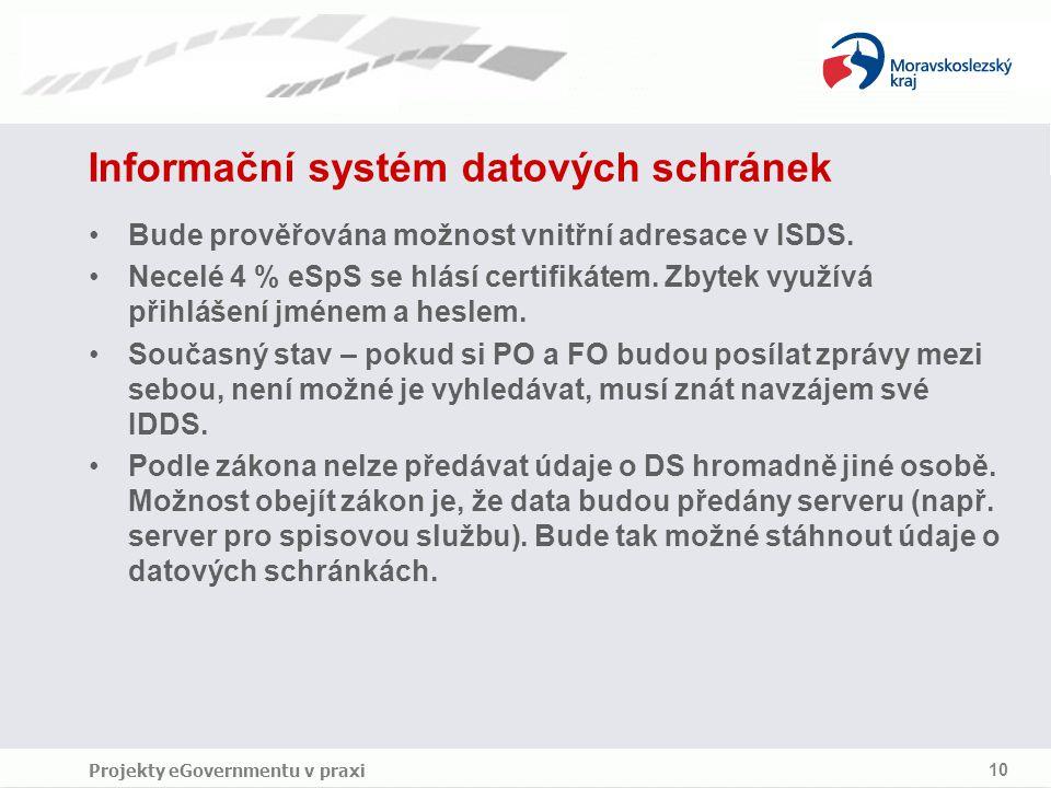 Projekty eGovernmentu v praxi 10 Informační systém datových schránek Bude prověřována možnost vnitřní adresace v ISDS.