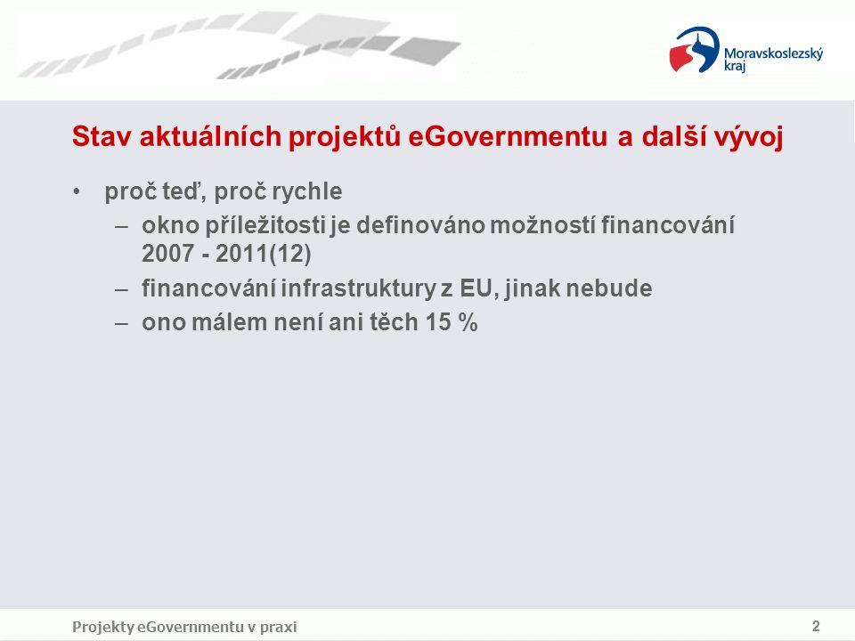 Projekty eGovernmentu v praxi 2 Stav aktuálních projektů eGovernmentu a další vývoj proč teď, proč rychle –okno příležitosti je definováno možností financování 2007 ‑ 2011(12) –financování infrastruktury z EU, jinak nebude –ono málem není ani těch 15 %