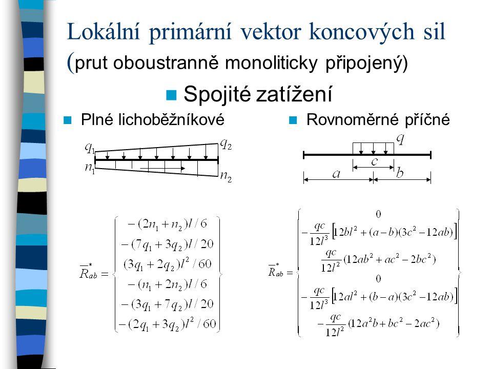 Spojité zatížení Plné lichoběžníkové Rovnoměrné příčné Lokální primární vektor koncových sil ( prut oboustranně monoliticky připojený)