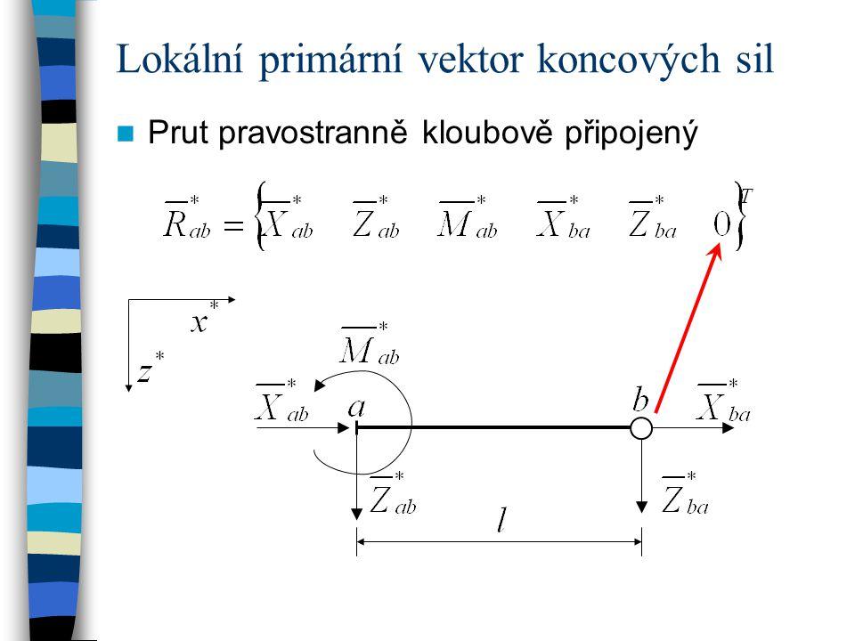 Lokální primární vektor koncových sil Prut pravostranně kloubově připojený