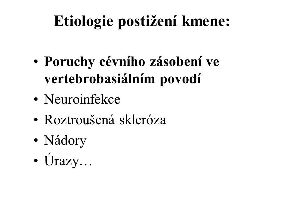 Etiologie postižení kmene: Poruchy cévního zásobení ve vertebrobasiálním povodí Neuroinfekce Roztroušená skleróza Nádory Úrazy…