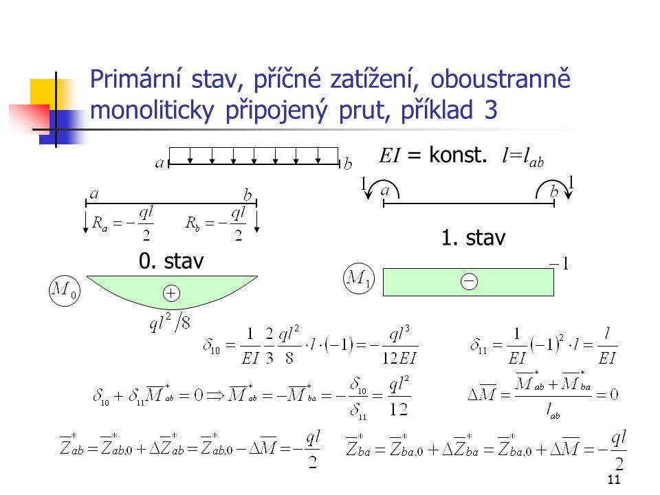 11 Primární stav, příčné zatížení, oboustranně monoliticky připojený prut, příklad 3 0.