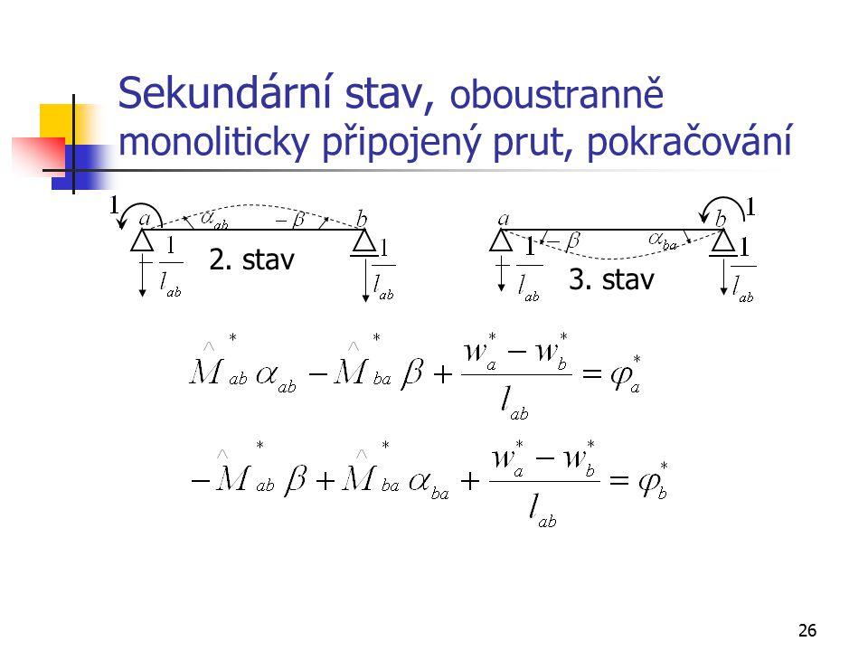 26 Sekundární stav, oboustranně monoliticky připojený prut, pokračování 2. stav 3. stav