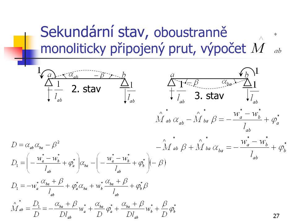 27 Sekundární stav, oboustranně monoliticky připojený prut, výpočet 2. stav 3. stav