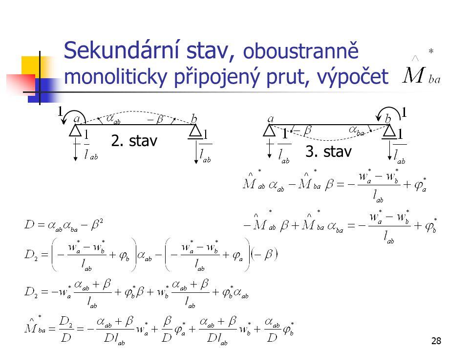 28 Sekundární stav, oboustranně monoliticky připojený prut, výpočet 2. stav 3. stav