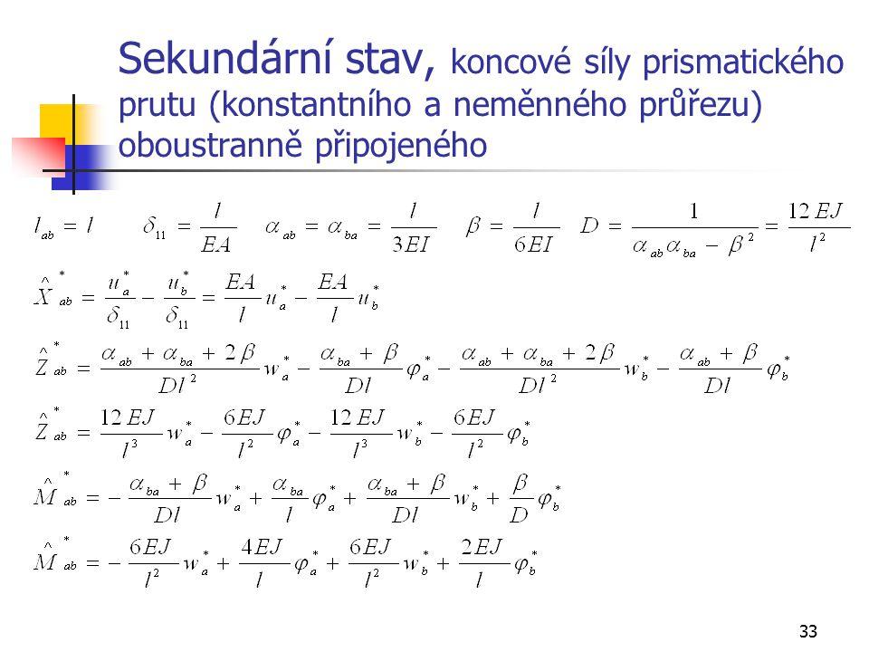 33 Sekundární stav, koncové síly prismatického prutu (konstantního a neměnného průřezu) oboustranně připojeného