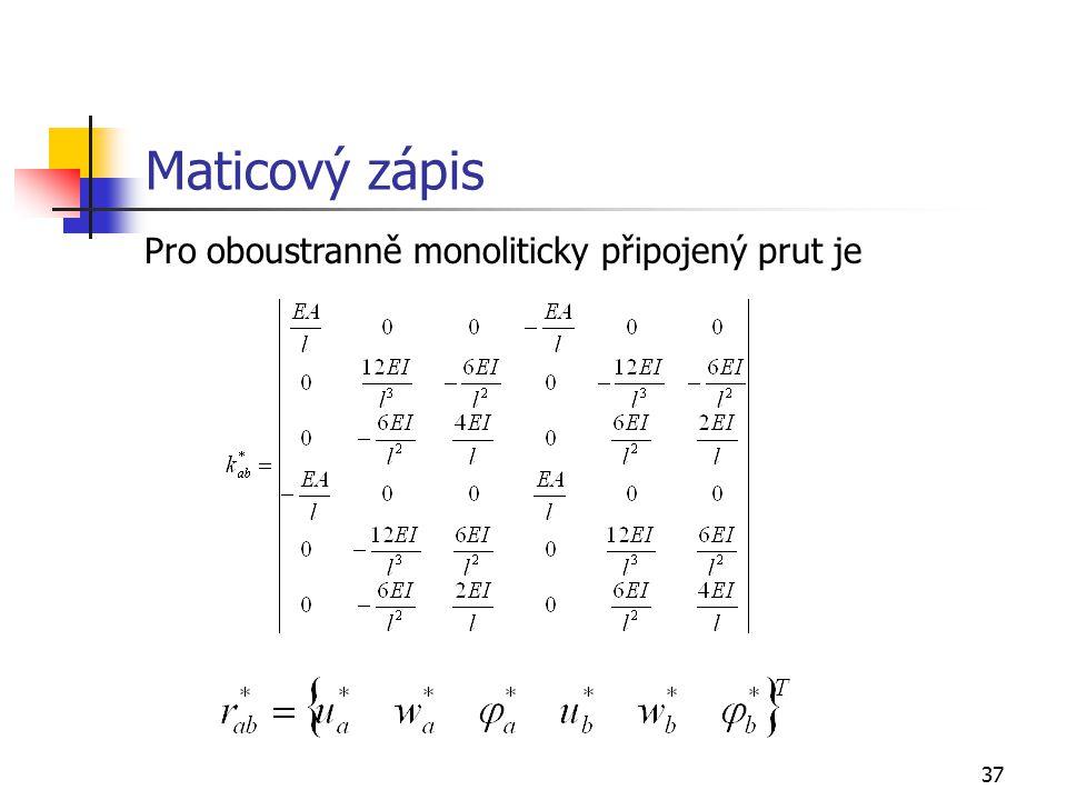 37 Maticový zápis Pro oboustranně monoliticky připojený prut je