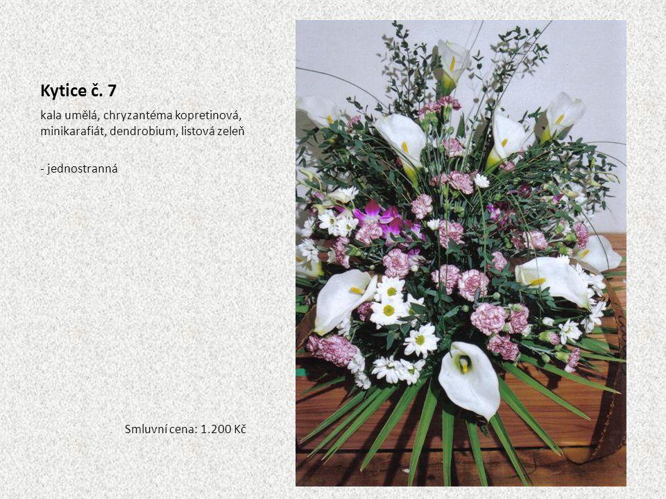 Kytice č. 7 kala umělá, chryzantéma kopretinová, minikarafiát, dendrobium, listová zeleň - jednostranná Smluvní cena: 1.200 Kč