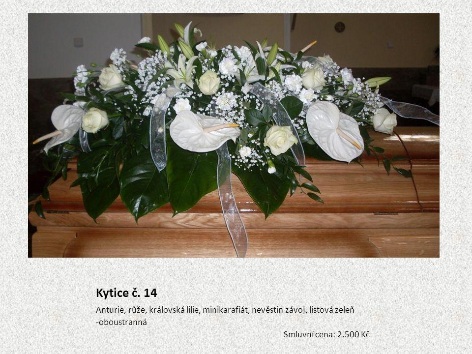 Kytice č. 14 Anturie, růže, královská lilie, minikarafiát, nevěstin závoj, listová zeleň -oboustranná Smluvní cena: 2.500 Kč