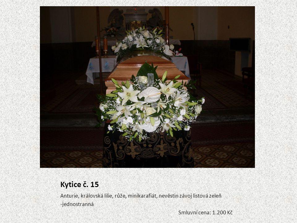 Kytice č. 15 Anturie, královská lilie, růže, minikarafiát, nevěstin závoj listová zeleň -jednostranná Smluvní cena: 1.200 Kč