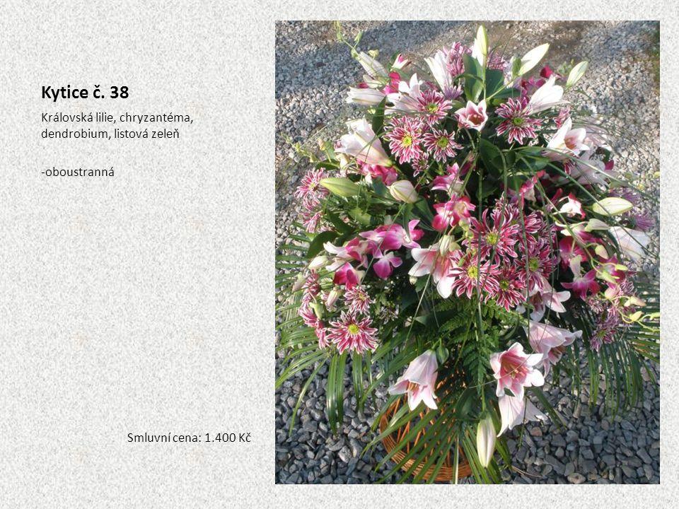 Kytice č. 38 Královská lilie, chryzantéma, dendrobium, listová zeleň -oboustranná Smluvní cena: 1.400 Kč