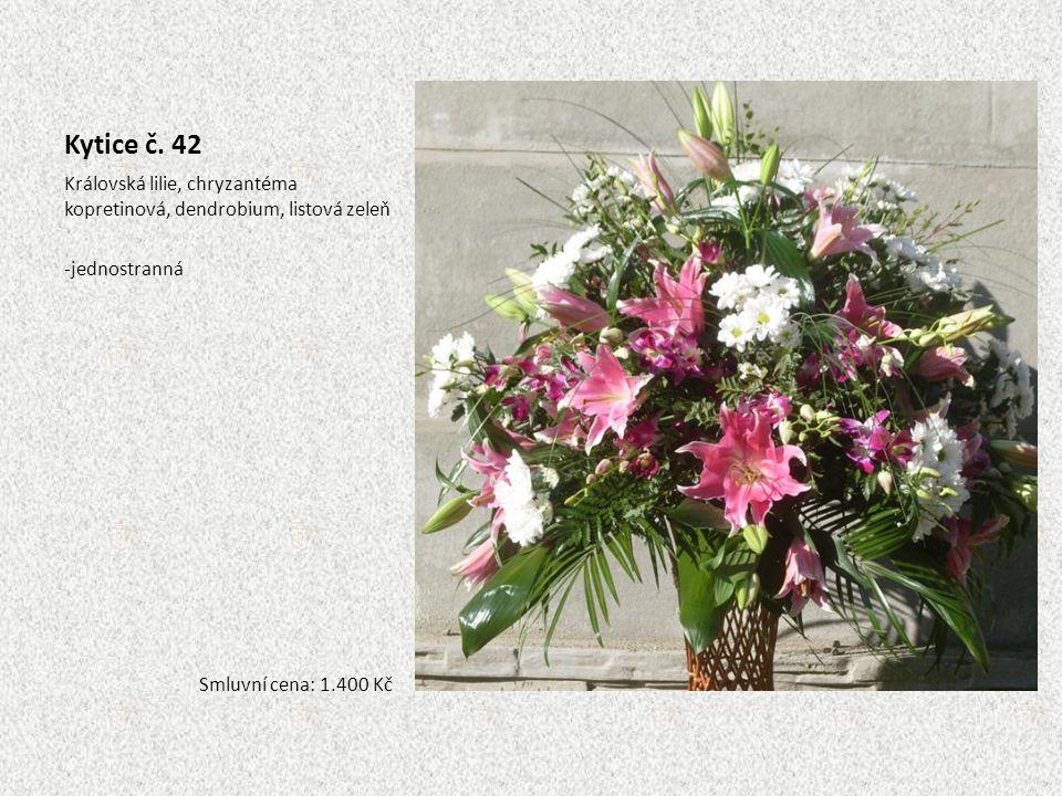 Kytice č. 42 Královská lilie, chryzantéma kopretinová, dendrobium, listová zeleň -jednostranná Smluvní cena: 1.400 Kč