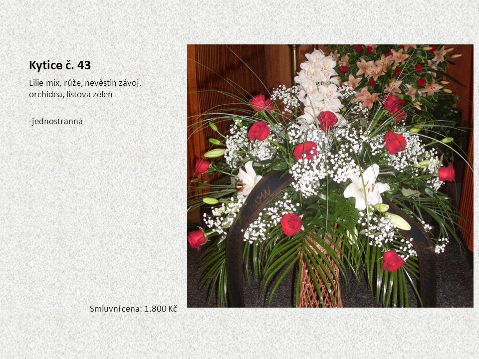 Kytice č. 43 Lilie mix, růže, nevěstin závoj, orchidea, listová zeleň -jednostranná Smluvní cena: 1.800 Kč
