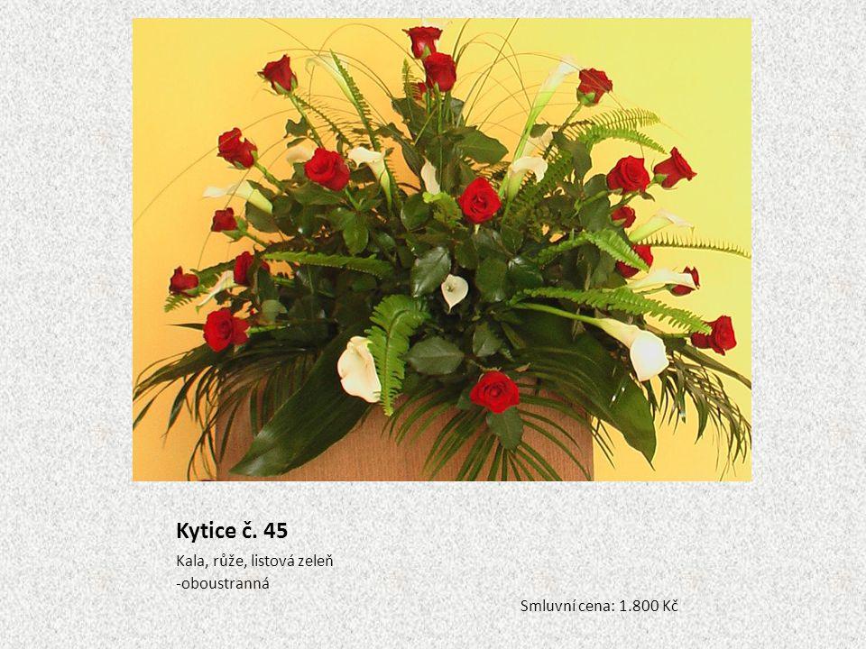 Kytice č. 45 Kala, růže, listová zeleň -oboustranná Smluvní cena: 1.800 Kč