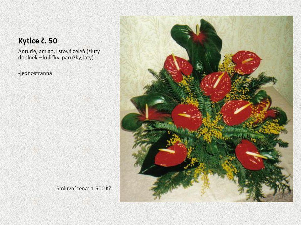 Kytice č. 50 Anturie, amigo, listová zeleň (žlutý doplněk – kuličky, parůžky, laty) -jednostranná Smluvní cena: 1.500 Kč