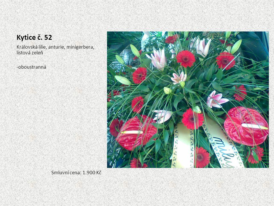 Kytice č. 52 Královská lilie, anturie, minigerbera, listová zeleň -oboustranná Smluvní cena: 1.900 Kč