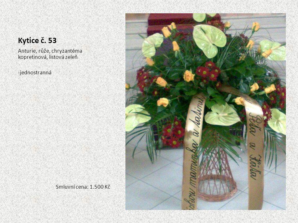 Kytice č. 53 Anturie, růže, chryzantéma kopretinová, listová zeleň -jednostranná Smluvní cena: 1.500 Kč
