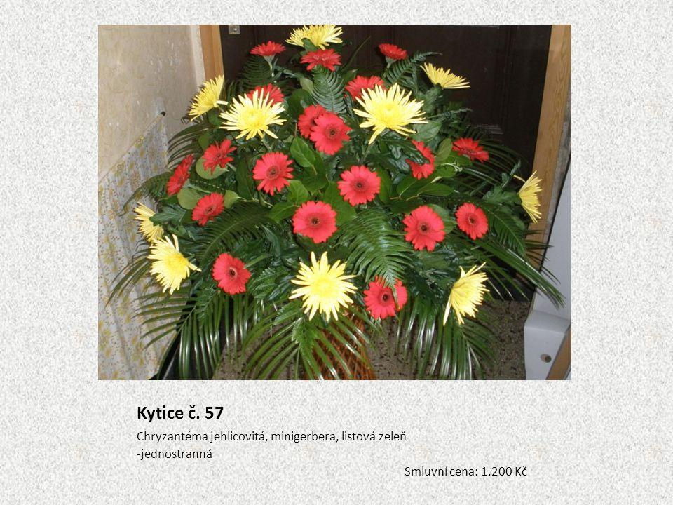Kytice č. 57 Chryzantéma jehlicovitá, minigerbera, listová zeleň -jednostranná Smluvní cena: 1.200 Kč