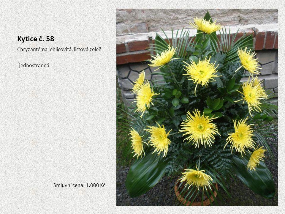 Kytice č. 58 Chryzantéma jehlicovitá, listová zeleň -jednostranná Smluvní cena: 1.000 Kč
