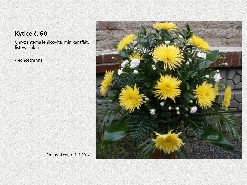 Kytice č. 60 Chryzantéma jehlicovitá, minikarafiát, listová zeleň -jednostranná Smluvní cena: 1.100 Kč
