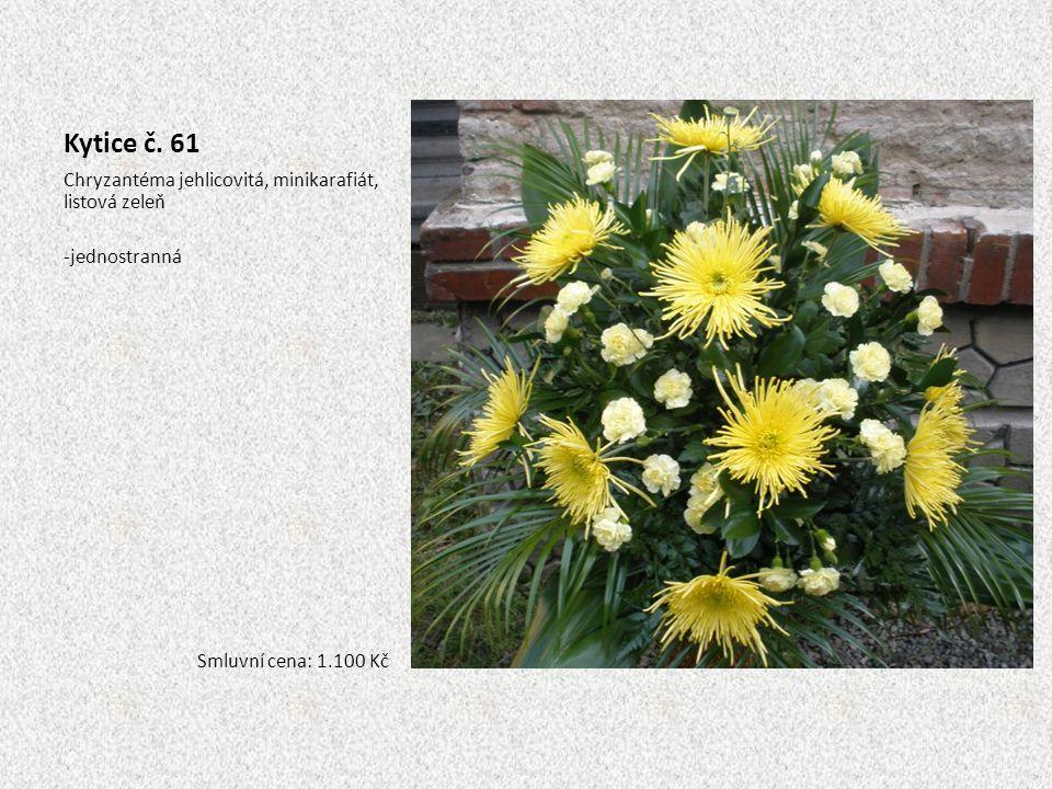 Kytice č. 61 Chryzantéma jehlicovitá, minikarafiát, listová zeleň -jednostranná Smluvní cena: 1.100 Kč