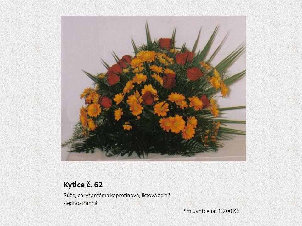 Kytice č. 62 Růže, chryzantéma kopretinová, listová zeleň -jednostranná Smluvní cena: 1.200 Kč