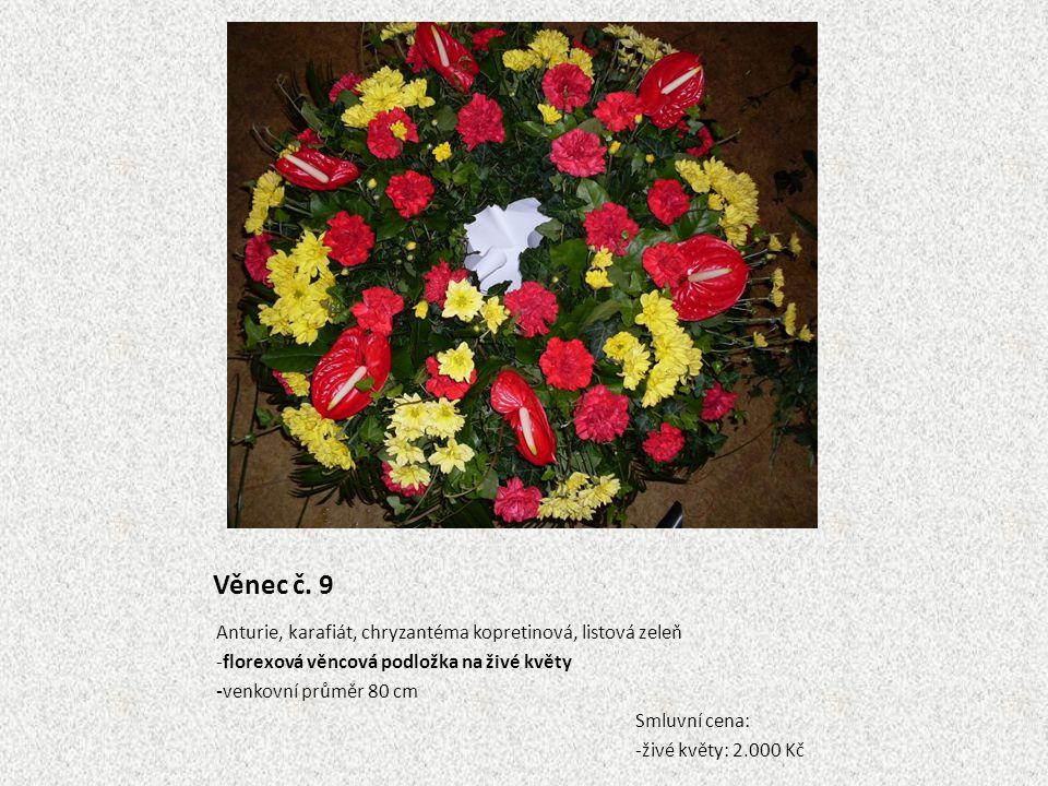 Věnec č. 9 Anturie, karafiát, chryzantéma kopretinová, listová zeleň -florexová věncová podložka na živé květy -venkovní průměr 80 cm Smluvní cena: -ž