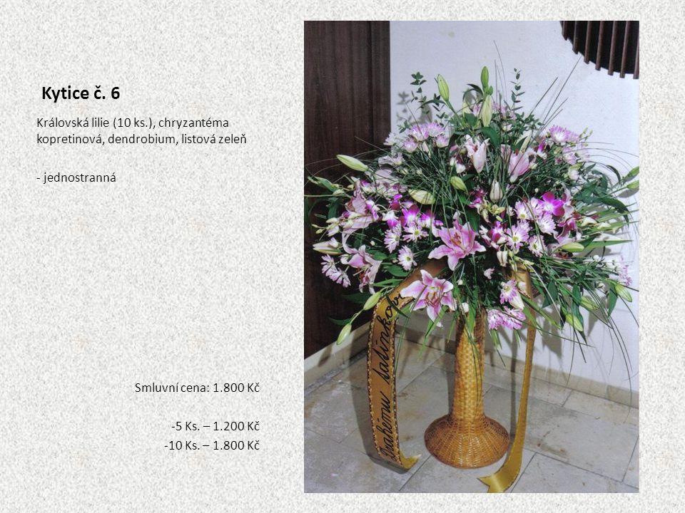 Kytice č. 6 Královská lilie (10 ks.), chryzantéma kopretinová, dendrobium, listová zeleň - jednostranná Smluvní cena: 1.800 Kč -5 Ks. – 1.200 Kč -10 K