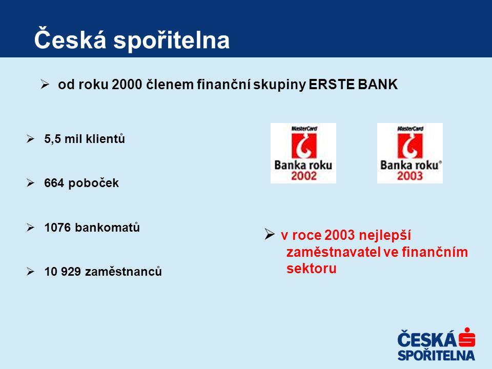 Česká spořitelna  5,5 mil klientů  664 poboček  1076 bankomatů  10 929 zaměstnanců  od roku 2000 členem finanční skupiny ERSTE BANK  v roce 2003 nejlepší zaměstnavatel ve finančním sektoru
