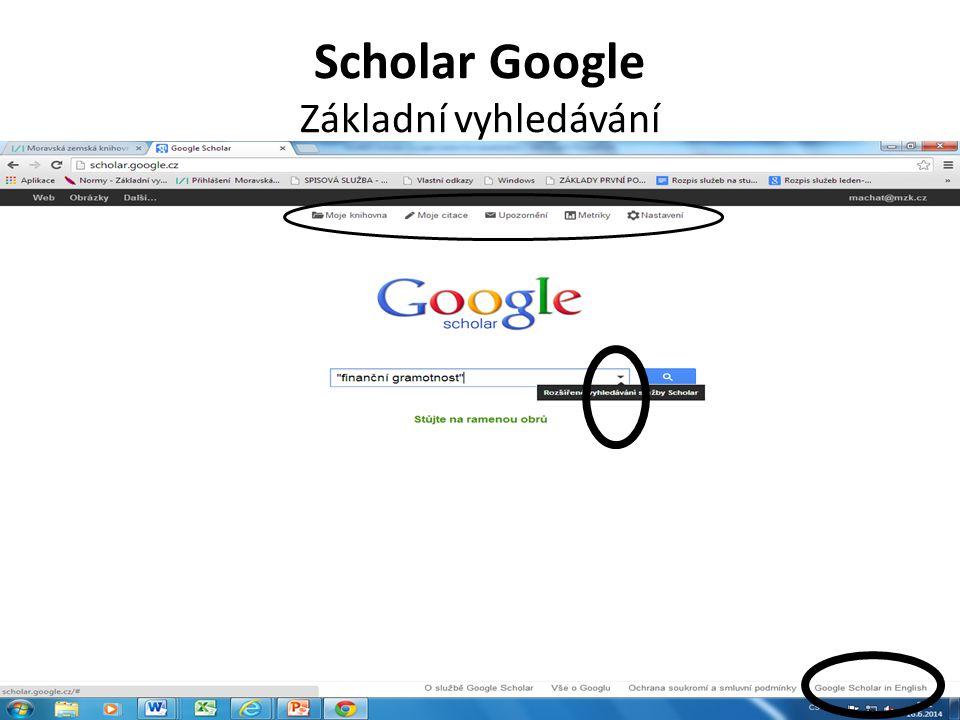 Scholar Google Základní vyhledávání