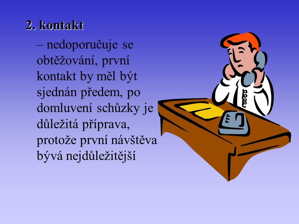 2. kontakt – nedoporučuje se obtěžování, první kontakt by měl být sjednán předem, po domluvení schůzky je důležitá příprava, protože první návštěva bý