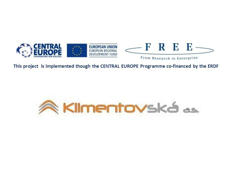 This project is implemented though the CENTRAL EUROPE Programme co-financed by the ERDF Partneři projektu FREE Technocentrum při Univerzitě v Mariboru V roce 2005 založeno Centrum pro transfer technologií komercionalizace inovací organizace vědeckých konferencí ochrana a management duševního vlastnictví zakládání spin-off společností snaha o zvýšení podpory výzkumu na fakultách 12
