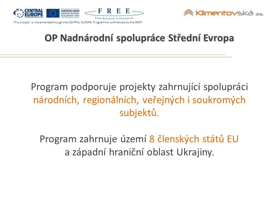 This project is implemented though the CENTRAL EUROPE Programme co-financed by the ERDF Partneři projektu FREE Amitié Výzkumné středisko zaměřené na vzdělávací a školící programy podpora inovativních řešení v oblasti e-learningu výzkumy v oblasti nových metod učení a na trhu práce péče o výzkumníky a podpora při propagaci inovací podpora sociálního začleňování podpora celoživotního vzdělávání 14