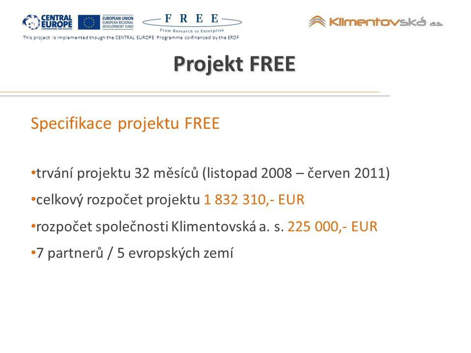 This project is implemented though the CENTRAL EUROPE Programme co-financed by the ERDF Výstupy projektu FREE Školící program a síť zprostředkovatelů inovací vytvoření školícího modulu pořádání tréninkových seminářů v jednotlivých regionech vyškolení skupiny odborníků podpora oboustranného procesu integrace výsledků VaV komercionalizace výzkumu 20