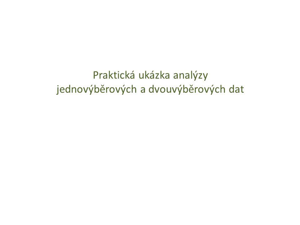 Praktická ukázka analýzy jednovýběrových a dvouvýběrových dat