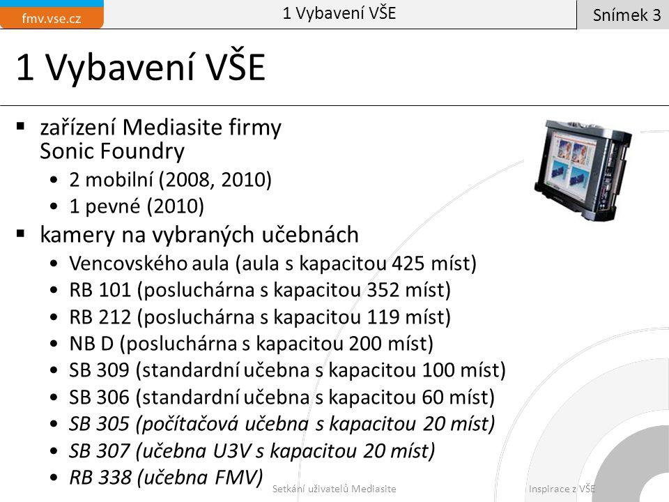 1 Vybavení VŠE  zařízení Mediasite firmy Sonic Foundry 2 mobilní (2008, 2010) 1 pevné (2010)  kamery na vybraných učebnách Vencovského aula (aula s