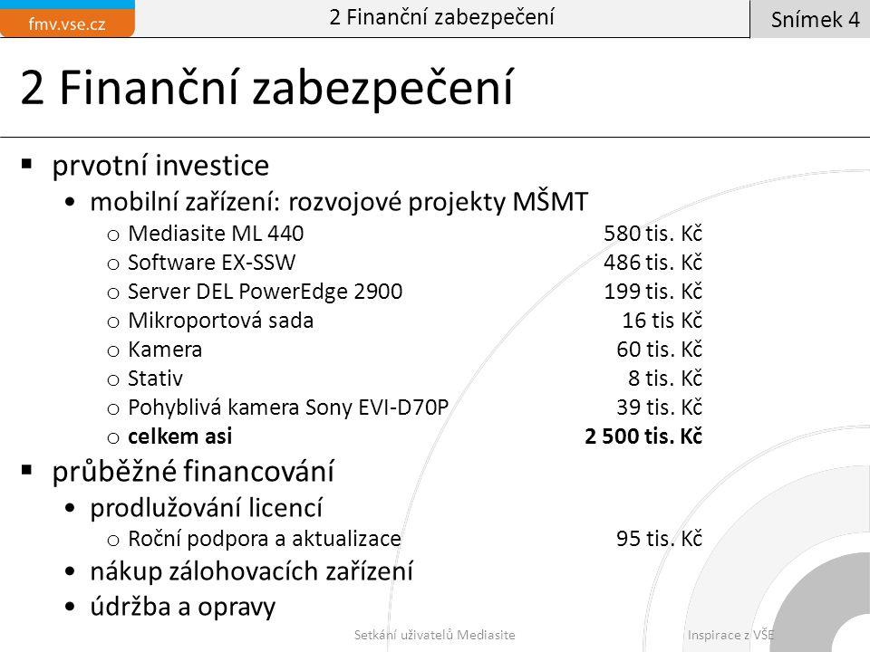 2 Finanční zabezpečení  prvotní investice mobilní zařízení: rozvojové projekty MŠMT o Mediasite ML 440580 tis. Kč o Software EX-SSW486 tis. Kč o Serv