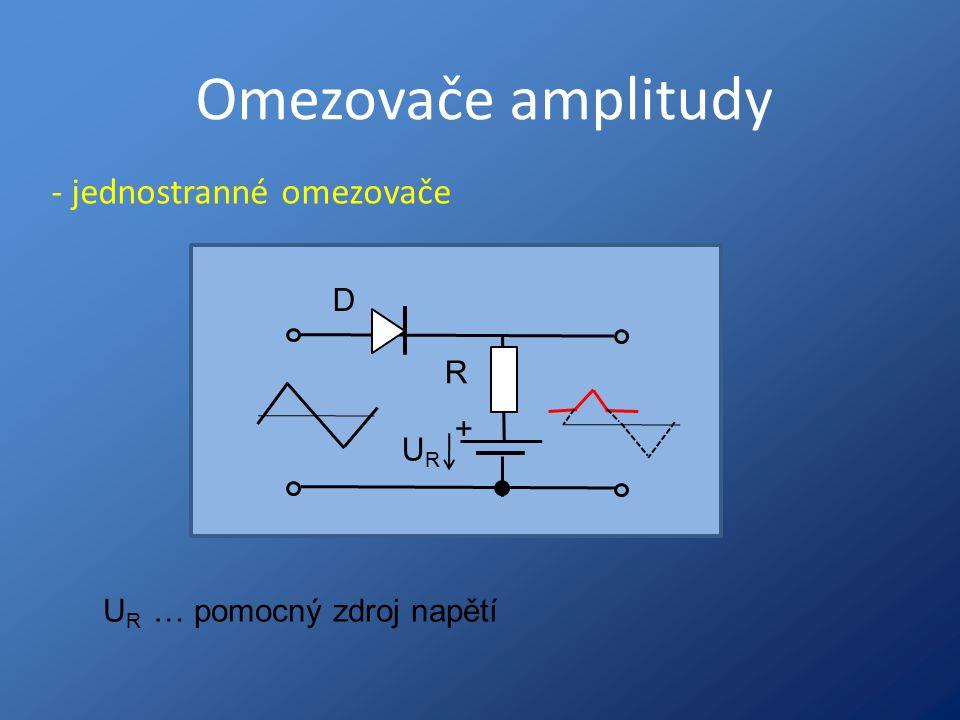 Omezovače amplitudy - jednostranné omezovače + URUR R D U R … pomocný zdroj napětí