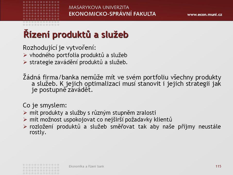 www.econ.muni.cz Ekonomika a řízení bank 115 Řízení produktů a služeb Rozhodující je vytvoření:  vhodného portfolia produktů a služeb  strategie zavádění produktů a služeb.