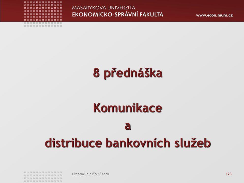 www.econ.muni.cz Ekonomika a řízení bank 123 8 přednáška Komunikacea distribuce bankovních služeb