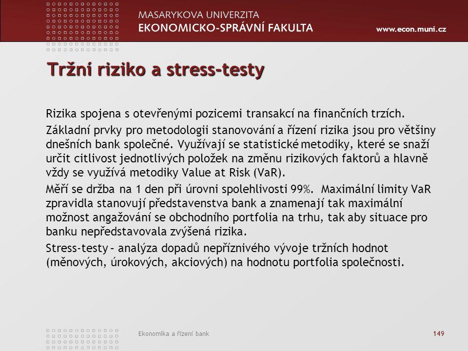 www.econ.muni.cz Ekonomika a řízení bank 149 Tržní riziko a stress-testy Rizika spojena s otevřenými pozicemi transakcí na finančních trzích. Základní