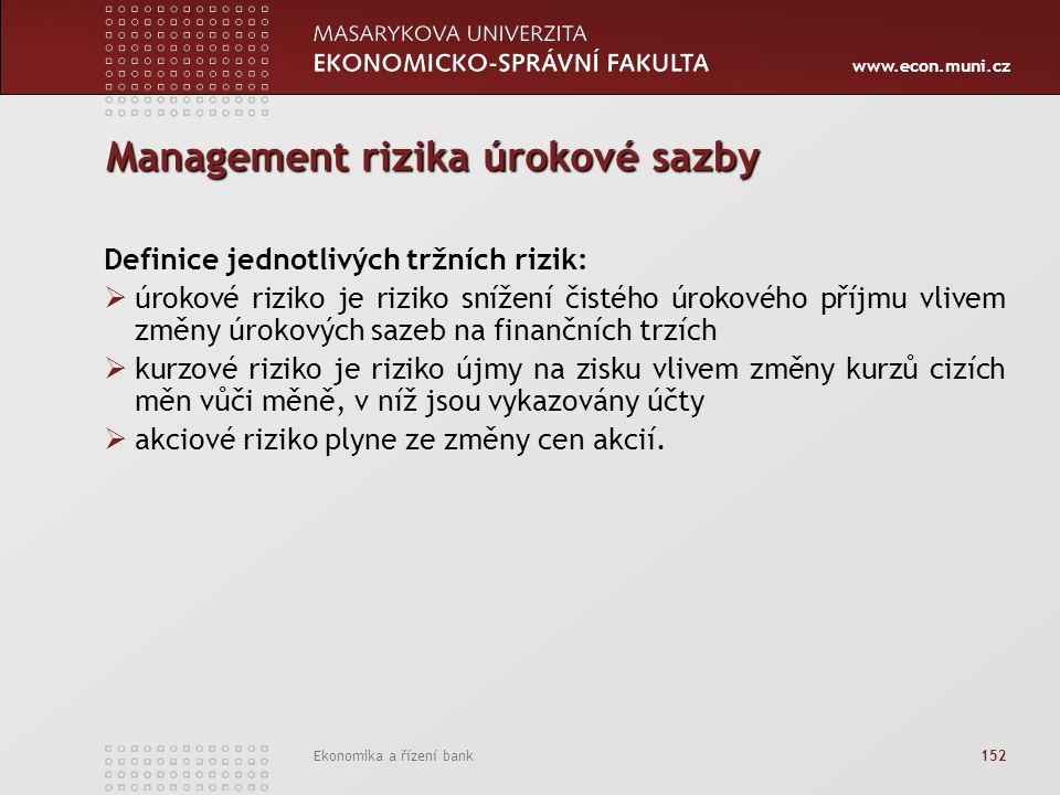 www.econ.muni.cz Ekonomika a řízení bank 152 Management rizika úrokové sazby Definice jednotlivých tržních rizik:  úrokové riziko je riziko snížení č